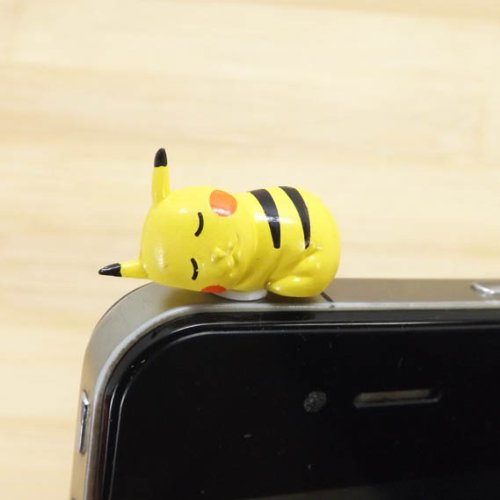 ZOEAST Cute Cartoon Pikachu Stitch Alien ET Pig Kitty Cat Sleepwalking Doll Green Frog Dust Plug 3.5mm Smart Cell Mobile Phone Plug Headphone Jack Earphone Cap Ear Cap Dustproof Plug Charm iPhone Plug Charm for iPhone 4 4S 5 5S HTC Samsung Ipad 2 3 4 Mini Ipod Blackberry Sony Nokia etc. (Sleeping Pikachu)