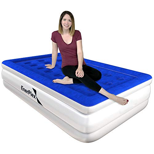 EnerPlex Premium Luxury Twin Size Air Mattress Inflatable Airbed with Built in Pump Raised Double High Twin Blow Up Bed for Home Camping Travel 2-Year Warranty