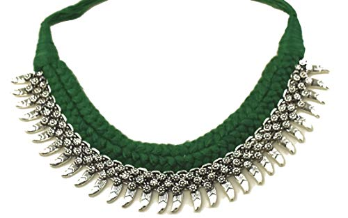 Indian Hand Braided Thread Oxidized Rajasthani Vintage Tribal Ethnic Silver Adjustable Choker Necklace for Women and Girls (Green)