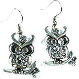 Handmade Silver-Tone Antique Owl Earrings