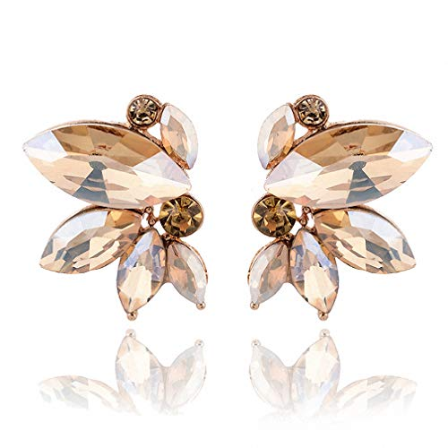 Unique Symmetrical Acrylic Opal Stone Stud Earrings Woman Statement Jewelry Christmas Gift Champagne