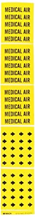 "Brady 7184-3C 2-1/4"" Height, 2-3/4"" Width, B-946 High Performance Vinyl, Black On Yellow Color Self-Sticking Vinyl Pipe Marker, Legend ""Medical Air"""