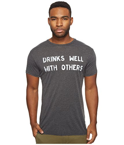 The Original Retro Brand Men's Drinks Well with Others Short Sleeve Heather Tee Heather Black T-Shirt