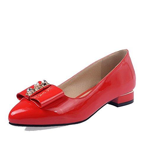 AllhqFashion Damen Niedriger Absatz Rein Ziehen auf Spitz Zehe Pumps Schuhe Rot