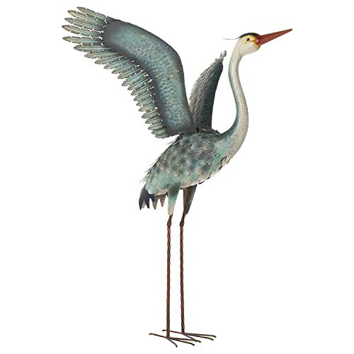 Chisheen Heron Statues and Sculptures Outdoor Decor Metal Crane Yard Ornaments Art Patio Backyard and Home Decoration,Blue&White