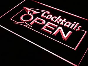 Cartel Luminoso ADV PRO i014-r OPEN Cocktails Wine Bar Pub Club Neon Light Sign