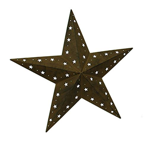 Zeckos Wall Sculptures Rustic Brown Cosmic Cutouts Metal Barn Star Indoor/Outdoor Wall Hanging 28 Inch 28 X 27 X 3 Inches Brown