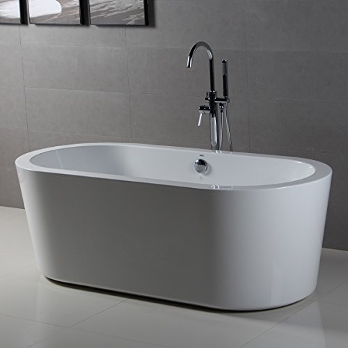 Ferdy bathroom freestanding acrylic soaking bathtub white for Acrylic soaker tub