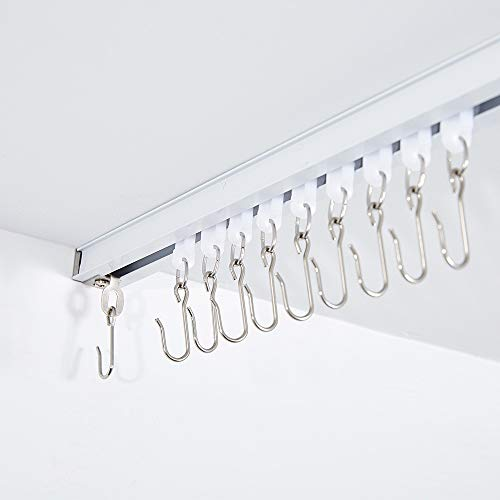 Ceiling Track for Curtains, 3ft - 6ft, Room Divider, Ceiling Curtain Track, Room Divider Curtain Rod, Numerous Hooks with End Hook, Easy Install, for Spaces 3ft - 6ft, White (4' White Track)