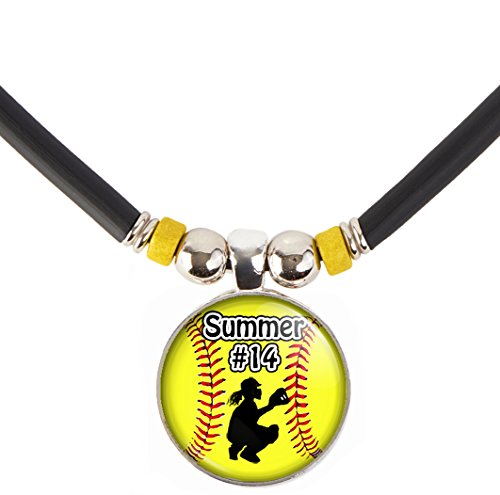 Softball Catcher Charm Necklace- Girls and Women's Softball Pendant Jewelry - Customized Softball Necklace with Name and Number- Perfect for Softball Players, Softball moms, Softball Teams and Coaches