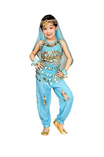 So Sydney Girls Kid Childrens Deluxe Belly Dancer Halloween Costume Complete Set (M (6/8), Blue) - Halloween Costumes Dancer