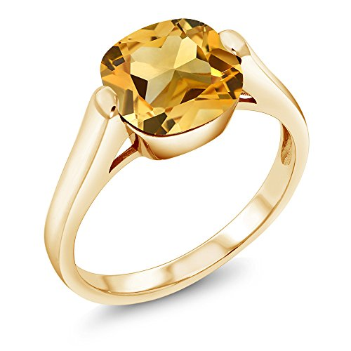 ed Silver Yellow Citrine Women's Ring 3.22 Ct Cushion Cut Available in (Size 9) ()