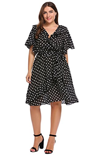 Zeagoo Women Plus Size Vintage Chiffon Polka Dot Ruffled Wrap Cocktail Party Dress (Vintage Chiffon)