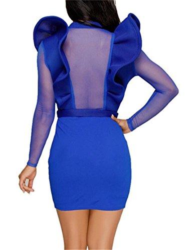 through See Del Del Pulsanti Womens Collo Domple Vestito Classico Aderente V Blu Profondo Partito qx1WHBwC