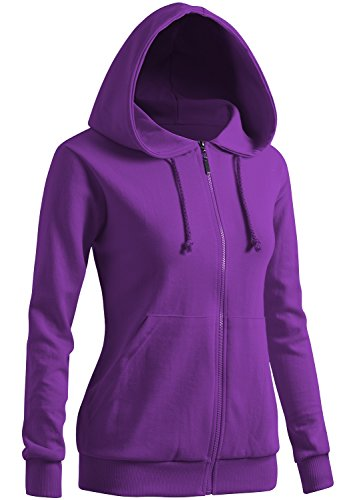 Bottom Band - CLOVERY Women's Band Bottom Long Sleeve Hoodie Purple US M/Tag M