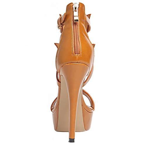 Pumps Shallow Peep ENMAYER Sandals High Dress Brown Toe Party Platform PU Zip Heels Womens Stiletto nY8Z4T