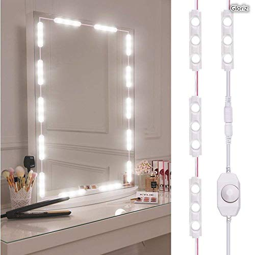Kit de luces para espejo, Gloriz Vanity Mirror Lights Kit Juego de luces para espejo 60 LED 3 m IP65 tira de luz LED flexible...