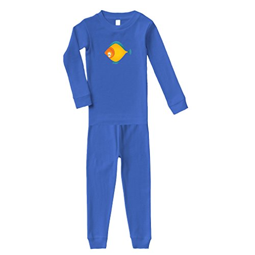 Cute Rascals Fish with Both Eyes On One Side Animals Cotton Long Sleeve Crewneck Unisex Infant Sleepwear Pajama 2 Pcs Set Top and Pant - Royal Blue, ()