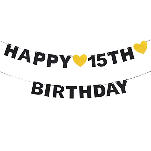 waway Happy 15th Birthday Black Glitter Paper Letter Banner Pennant Sweet Gold Glitter Heart Kids Boy's or Girl's Bday Fifteen Years Old Anniversary Party Hanging Ornament Decoration Present. ()