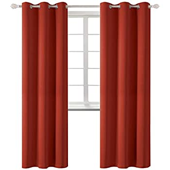 BGment Blackout Curtains - Grommet Thermal Insulated Room Darkening Bedroom and Living Room Curtain, Set of 2 Panels (42 x 84 Inch, Burnt Orange)