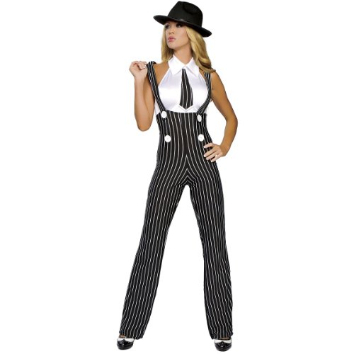 Roma Costume 2 Piece Gangsta Mama Costume, Black/White, Medium/Large