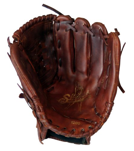 Old Time Baseball Mitt (Shoeless Joe Gloves Fast Pitch Basket Weave Web Brown Baseball Glove, Left Hand, 12-Inch)