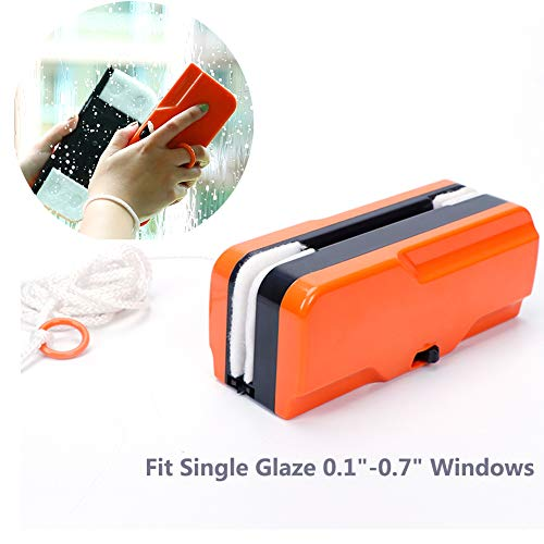 """Magnetic Window Cleaner for Single Glazing Fit to 0.1""""-0.7"""" Window Thickness - Glider Washing Glass Cleaning Brush Tools for High-Rise"""