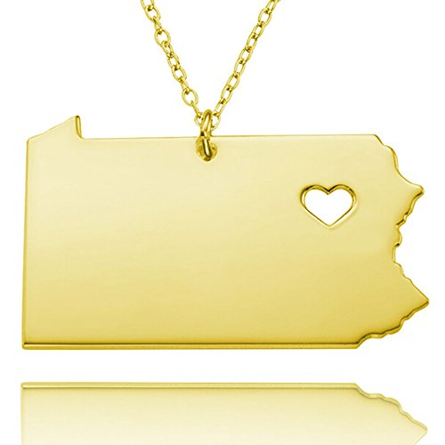 18K Gold Silver Country Map Charm Pendant Pennsylvania State Map Necklace Jewelry