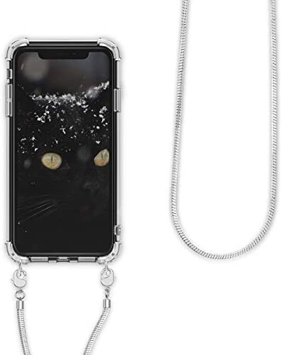 Clear Transparent TPU Cell Phone Cover with Neck Cord Lanyard Strap kwmobile Crossbody Case Compatible with Apple iPhone XR Transparent//Light Blue
