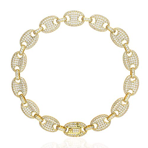 (Gold Over 925 Silver Iced Out Zirconia 10mm Puffed Mariner Gucci Link Bracelet, Yellow Gold Plated, 9)