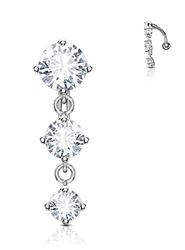 (Forbidden Body Jewelry Surgical Steel Sexy Dangle Reverse Mount Triple CZ Vertical Drop Belly Ring)