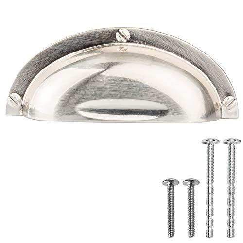 Industrial Kitchen Cabinet Handles - 3 Inch Satin Nickel Bin Cup Drawer Pulls - 10 Pack of Kitchen Cabinet - Three Cabinet Bin