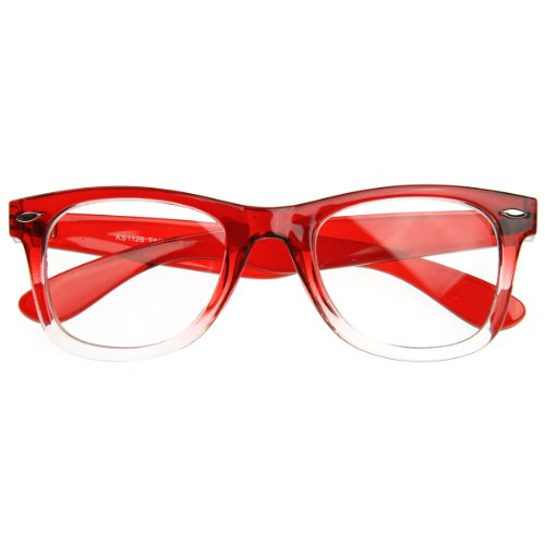 zeroUV - Two Tone Fade Classic Clear Lens Horn Rimmed Glasses (Red - Horn Red Glasses Rimmed