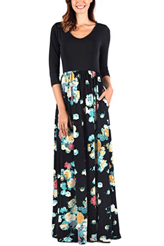 Comila Women's 3/4 Sleeve Contrast Floral Pockets Casual V Neck Long Maxi Dress