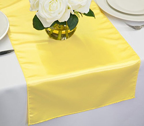 Cal Events Co.. Pack Of 10 Wedding 12 x 108 inch Satin Table Runner For Wedding Banquet Decoration- LIGHT YELLOW by Cal Events Co.