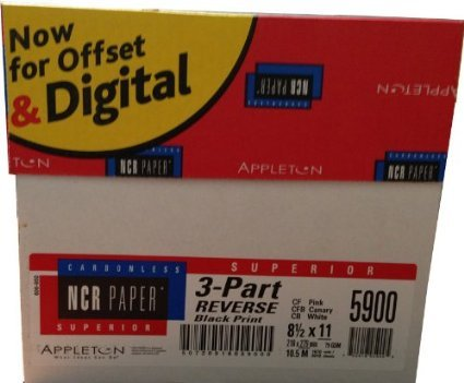 1670 Sets, 8-1/2'' x 11'' Pre Collated, Carbonless Paper, 3 Part Reverse, (White, Canary, Pink),Ncr5900 Category: Copy and Multi Purpose Paper by Appleton