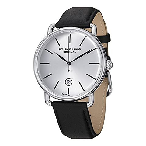 Stuhrling Original Classic Dress Wrist Watch for Men, Analog Stainless Steel Quartz Wristwatch with Genuine Leather Strap, Silver Dial (30mm Watch Face Protector)
