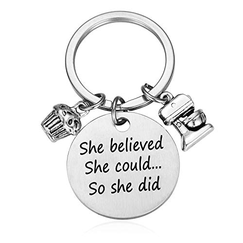Baking Gifts Pastry Chef Baking Gifts for Women Keychain - She Believed She Could... So She Did