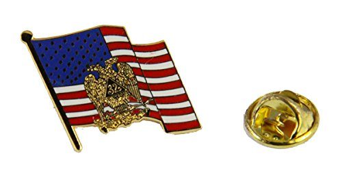 6030698 32nd Degree Scottish Rite Mason United States Flag Lapel Pin Masonic Blue Lodge