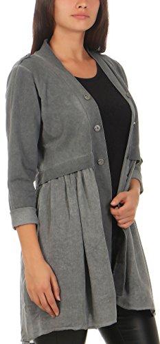 Elegante Donna look Scuro Malito Base Camicetta Blazer abito Grigio 8036 qwnX1Ba