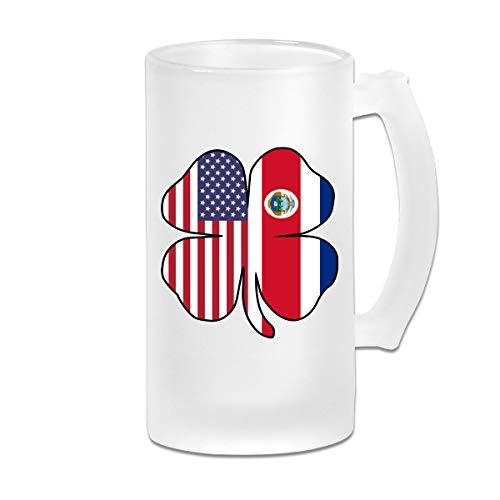 American Costa Rica Flag Shamrock Frosted Glass Stein Beer Mug - Personalized Custom Pub Mug - 16 Oz Beverage Mug - Gift For Your Favorite Beer Drinker