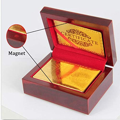 Fashion 24K Karat Gold Plated Poker Playing Card +Nice Wood Box +Certificate(Multi-Color,EUR (Included Box))