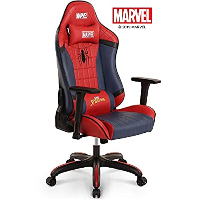 Marvel Avengers Spider-Man Big & Wide Heavy Duty 400 lbs Gaming Chair Office Chair Computer Racing Desk Chair Red Blue - Endgame & Infinity War Series, Marvel Legends