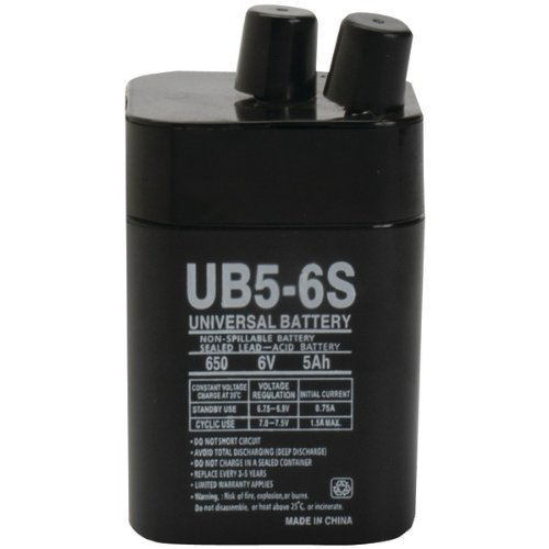 6 Volt 5 Amp Hour UB5-6S Sealed Lead Acid Battery Replacement with S Terminals by UPG D5697