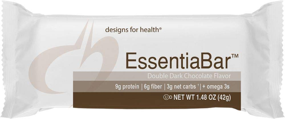 Designs for Health Whey + Rice Protein Bars in Double Dark Chocolate - EssentiaBar, 9g of Protein with Prebiotic Fiber + Omega 3s (18 Bars)