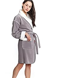Cozy & Curious Women's Short Sherpa Lined Robe