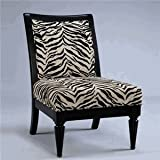 Powell Metro Black Accent Chair with White/Onyx Tiger Striped Fabric