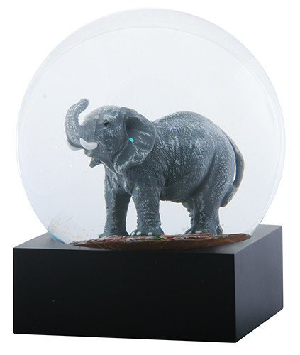 4.5 Inch Grey Elephant with Trunk Lifted and Tusk in Water Globe