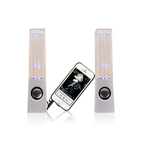 I-kool Original Water Dancing Speakers Super Charged Bass Extra Large Works with Usb/ Aux Cable (White)