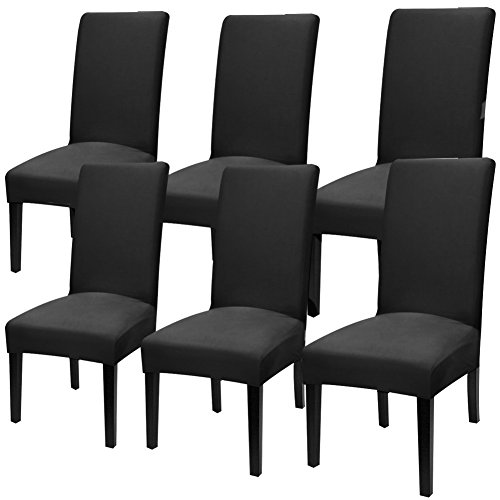 YISUN Modern Stretch Dining Chair Covers Removable Washable Spandex Slipcovers for High Chairs 4/6 PCs Chair Protective Covers (Black/Solid Pattern, 6 PCS) ()